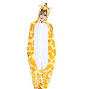 cheap Kigurumi Pajamas-Adults' Kigurumi Pajamas Giraffe Animal Onesie Pajamas Coral fleece Orange Cosplay For Men and Women Animal Sleepwear Cartoon Festival / Holiday Costumes