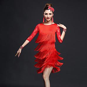 cheap Dancing Costumes-Latin Dance Top Lace Tassel Women's Performance Half Sleeve High Nylon Chinlon