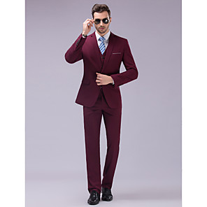 cheap Smartphones-Burgundy Slim Fit Suit - Slim Notch Single Breasted One-button / Suits
