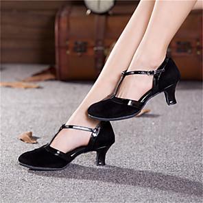 preiswerte Standardtanzschuhe & Modern Dance Schuhe-Damen Schuhe für modern Dance Absätze Kubanischer Absatz Wildleder Lackleder Schnalle Schwarz-und Gold / Schwarz / EU42