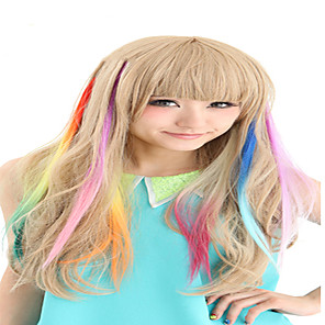 cheap Hair Jewelry-synthetische colorful clip in hair extensions 1 clips 9color