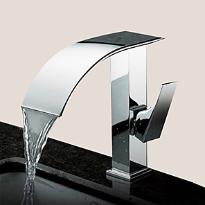 cheap Bathroom Sink Faucets-Bathroom Sink Faucet - Waterfall Chrome Centerset Single Handle One HoleBath Taps