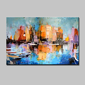 cheap Abstract Paintings-Oil Painting Hand Painted - Abstract Modern With Stretched Frame / Rolled Canvas