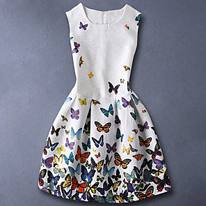 cheap Boys' Tops-Kids Girls' Basic Sweet Daily Butterfly Floral Print Sleeveless Dress White