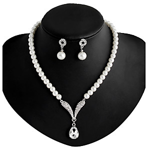 cheap Jewelry Sets-Women's Pearl Necklace / Earrings Long Ladies Imitation Pearl Rhinestone Silver Plated Earrings Jewelry White For Wedding Party Daily Masquerade Engagement Party Prom