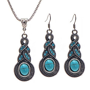 cheap Jewelry Sets-Women's Jewelry Set Necklace / Earrings Party Work Casual Vintage Fashion Resin Rhinestone Earrings Jewelry Blue For Wedding Party Daily Casual