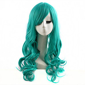 cheap Makeup Brush Sets-Cosplay Costume Wig Synthetic Wig Wavy Wavy Wig Long Green Synthetic Hair Women's Green