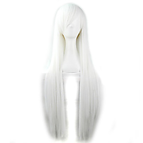 cheap Synthetic Lace Wigs-Cosplay Costume Wig Synthetic Wig Straight Straight Wig White Synthetic Hair Women's White