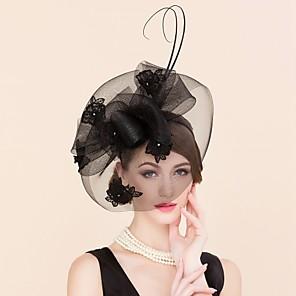 cheap Historical & Vintage Costumes-Tulle Lace Rhinestone Fascinators Birdcage Veils Headpiece