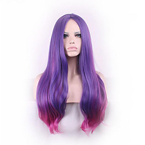 sexy long slightly curly purple red ombre cosplay central parting women wigs  girl gift Halloween 6eb06e376d