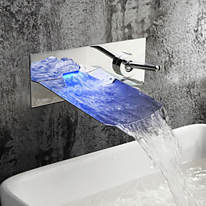 cheap Classical-Contemporary Wall Mounted Waterfall LED Ceramic Valve Two Holes Single Handle Two Holes Chrome , Bathroom Sink Faucet