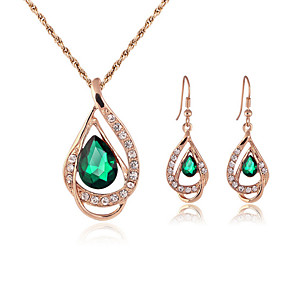 cheap Jewelry Sets-Women's Jewelry Set Stud Earrings Necklace / Earrings Pear Cut Ladies Earrings Jewelry Red / Green For Wedding Party Daily Casual