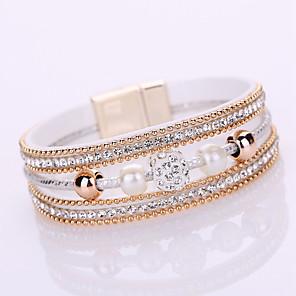 cheap Rings-Women's Chain Bracelet Tennis Bracelet Wrap Bracelet Layered Ladies Bohemian Fashion Boho Elegant Leather Bracelet Jewelry Gray / Pink / Light Blue For Christmas Gifts Wedding Gift Daily Casual