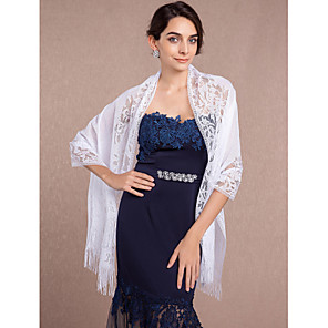 cheap Wedding Wraps-Shawls Lace / Tulle Wedding / Party Evening Wedding  Wraps With Lace / Tassel