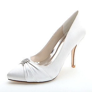 cheap Wedding Shoes-Women's Wedding Shoes Stiletto Heel Pointed Toe Rhinestone Satin Formal Shoes Spring / Summer Pink / Champagne / Ivory / Party & Evening / EU39