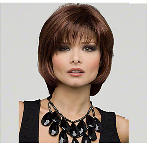 cheap Costume Wigs-Synthetic Wig Straight Straight Bob Layered Haircut With Bangs Wig Short Medium Length Brown Synthetic Hair Women's Natural Hairline Side Part Brown