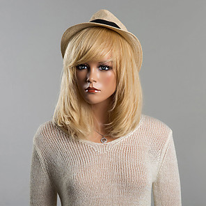 cheap Synthetic Lace Wigs-Human Hair Wig Medium Length Straight Bob Short Hairstyles 2020 With Bangs Straight Capless Women's Strawberry Blonde / Bleach Blonde Auburn Brown / Bleach Blonde Blonde / Bleached Blonde