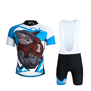 cheap Cycling Jersey & Shorts / Pants Sets-ILPALADINO Men's Short Sleeve Cycling Jersey with Bib Shorts Black Bike Bib Shorts Jersey Clothing Suit Breathable 3D Pad Quick Dry Ultraviolet Resistant Reflective Strips Sports Lycra Shark Mountain