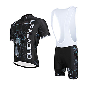 cheap Cycling Jersey & Shorts / Pants Sets-ILPALADINO Men's Short Sleeve Cycling Jersey with Bib Shorts Black Bike Bib Shorts Jersey Clothing Suit Breathable 3D Pad Quick Dry Ultraviolet Resistant Reflective Strips Sports Lycra Fashion