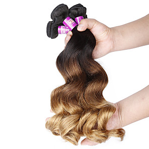 cheap Synthetic Trendy Wigs-4 Bundles Brazilian Hair Loose Wave Virgin Human Hair 400 g Ombre Hair Weaves / Hair Bulk 12-24 inch Human Hair Weaves Human Hair Extensions / 10A