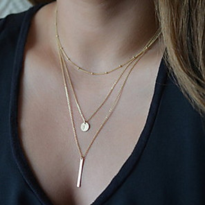 cheap Necklaces-Women's Pendant Necklace Y Necklace Ladies Basic Fashion Alloy Golden Silver Necklace Jewelry For Party Daily Casual