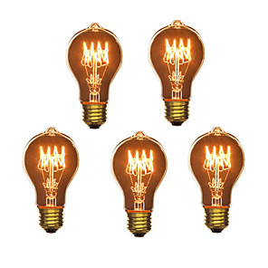cheap LED Smart Bulbs-5pcs 40W E26 / E27 A60(A19) Warm White 2300k Retro / Dimmable / Decorative Incandescent Vintage Edison Light Bulb 220-240V