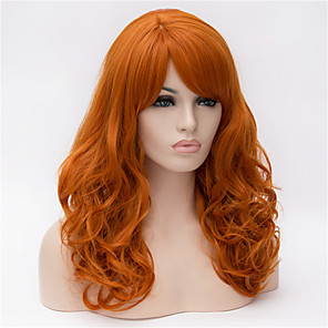cheap Synthetic Lace Wigs-Synthetic Wig Deep Wave Deep Wave With Bangs Wig Long Synthetic Hair Women's Side Part Orange