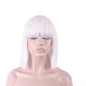 cheap Synthetic Trendy Wigs-Synthetic Wig Cosplay Wig Straight Yaki Straight Yaki Bob With Bangs Wig Medium Length White Synthetic Hair Women's Natural Hairline White