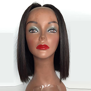 cheap Synthetic Trendy Wigs-Synthetic Lace Front Wig Straight Straight Bob Lace Front Wig Medium Length Light Brown Black#1B Medium Brown Jet Black Dark Brown Synthetic Hair Women's Middle Part Bob Natural Hairline Middle Part