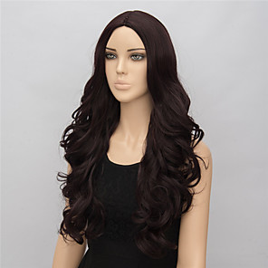 cheap Synthetic Lace Wigs-Synthetic Wig Wavy Wavy Wig Medium Length Brown Synthetic Hair Women's Brown