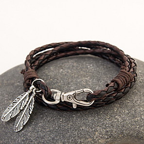 cheap Bracelets-Leather Bracelet Layered Rope Stacking Stackable Feather Bohemian Fashion Boho Multi Layer Native American Leather Bracelet Jewelry Brown / Red / Black / White For Christmas Gifts Daily Casual