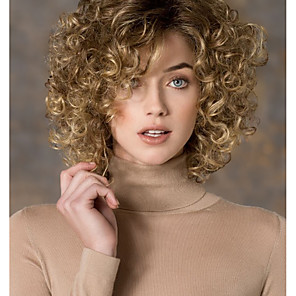 cheap Synthetic Trendy Wigs-Synthetic Wig Curly Curly Side Part Wig Blonde Short Blonde Synthetic Hair Women's Fashion Blonde