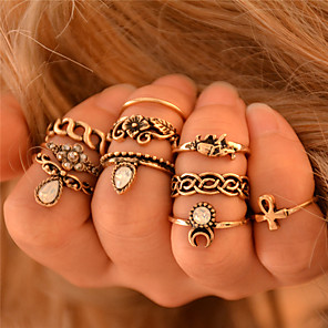 cheap Rings-Women's Knuckle Ring Rings Set 10pcs Golden Silver Synthetic Gemstones Ladies Personalized Unusual Wedding Party Jewelry Elephant Flower Animal