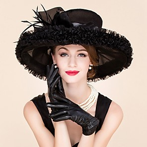 cheap Historical & Vintage Costumes-Feather Organza Fascinators Hats Headpiece Classical Feminine Style