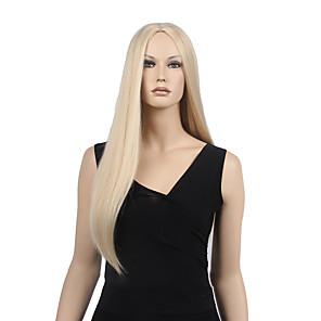 cheap Synthetic Lace Wigs-Synthetic Wig Straight Straight Middle Part Wig Blonde Long Blonde Synthetic Hair 24 inch Women's With Ponytail Blonde