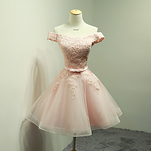 cheap Wedding Shoes-Ball Gown Off Shoulder Short / Mini Organza / Lace Bodice Bridesmaid Dress with Appliques / Bow(s) / Sash / Ribbon