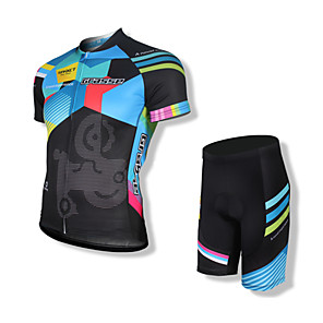 cheap Cycling Jerseys-SPAKCT Men's Short Sleeve Cycling Jersey with Shorts Black Bike Shorts Jersey Clothing Suit 3D Pad Quick Dry Anatomic Design Reflective Strips Sports Spandex Coolmax® Sports Clothing Apparel