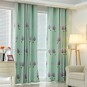 cheap Wall Stickers-Coloured Embroidery Floral Lavender Curtain (Two Panel)