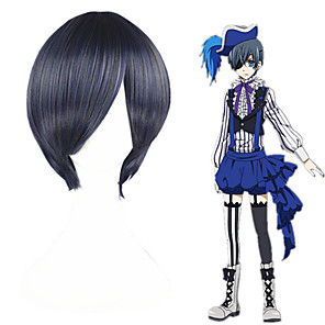 cheap Anime Costumes-Black Butler Ciel Phantomhive Cosplay Wigs Men's Women's 12 inch Heat Resistant Fiber Black Anime