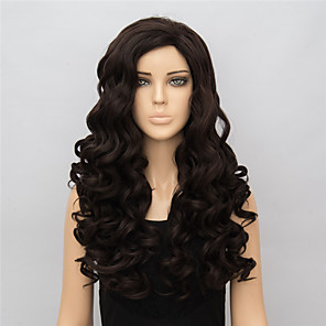 cheap Synthetic Lace Wigs-Synthetic Wig Body Wave Wavy Side Part Wig Long Brown Synthetic Hair 22 inch Women's With Ponytail Brown
