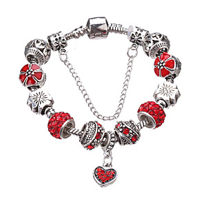 cheap Bracelets-Women's Charm Bracelet Bead Bracelet Beaded Beads Heart Love Luxury European Fashion Rhinestone Bracelet Jewelry Red / Green / Blue For Party Daily Casual / Silver Plated / Imitation Diamond
