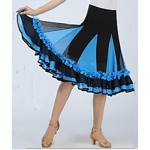 cheap Ballroom Dancewear-Ballroom Dance Skirt Draping Appliques Women's Performance Sleeveless Dropped Spandex