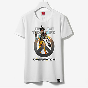 cheap Anime Costumes-Inspired by Overwatch Cosplay Anime Cosplay Costumes Japanese Cosplay Tops / Bottoms Print Short Sleeve T-shirt For Unisex