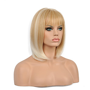 cheap Synthetic Lace Wigs-Synthetic Wig Straight Wavy Straight Bob Wig Blonde Short Blonde Synthetic Hair Women's Ombre Hair Blonde