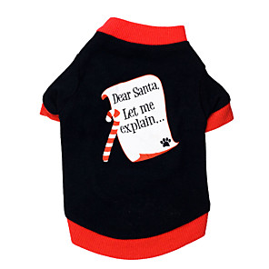 cheap Dog Clothes-Cat Dog Shirt / T-Shirt Letter & Number Christmas Dog Clothes Breathable Black / Red Costume Cotton XS S M L