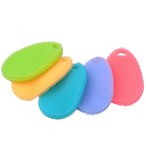 cheap Cleaning Protection-Multi-function Non Stick Oil Silicone Dish Washing Cleaning Brush Kitchen Tool(Random Color)