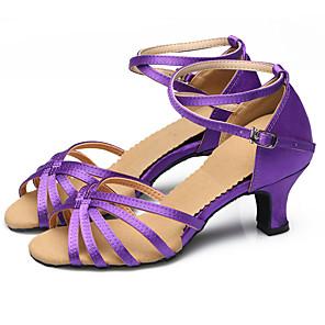 cheap Wedding Shoes-Women's Dance Shoes Belly Shoes Latin Shoes Dance Sneakers Heel Sneaker Imitation Pearl / Sparkling Glitter / Buckle Cuban Heel Non Customizable Golden / Purple / Indoor / Performance / Satin