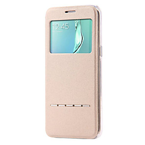 tanie Akcesoria Samsung-Kılıf Na Samsung Galaxy S7 Edge / S7 / S6 edge plus Z podpórką / Z okienkiem / Flip Pełne etui Solidne kolory Skóra PU