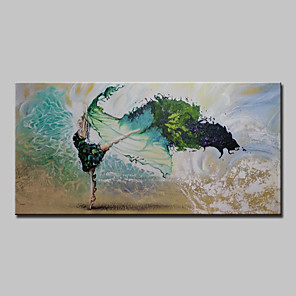 cheap Abstract Paintings-Oil Painting Hand Painted - Landscape Modern With Stretched Frame / Stretched Canvas