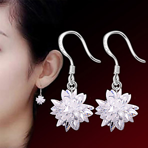 cheap Earrings-Women's Crystal Earrings Flower Ladies Punk Fashion Druzy Sterling Silver Silver Earrings Jewelry White For Wedding Party Daily Casual Sports Masquerade